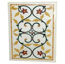 3'x2' White Marble Dining Table Inlay Marquetry Floral Arts Outdoor Mosaic Decor