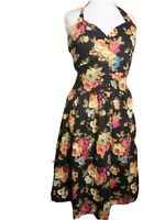 Lindy Bop Womens Dress size 14 halter neck black floral retro 1950s full pocket