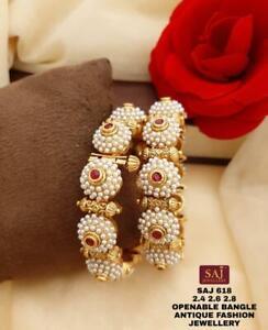Indian Ethnic 2PC Gold Plated Kada Jewelry Pearl Cz Bangles Bracelets Set aqreww