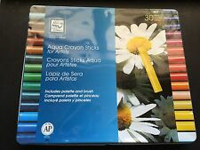 New Loew & Cornell Aqua crayon sticks in tin with brush and pallet 30 count #864