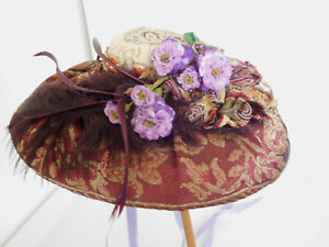 """Vintage Antique Reproduction Straw & Fabric Doll Hat for 10"""" Head"""