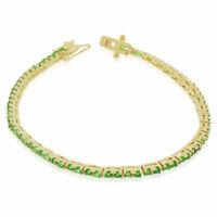 925 Sterling Silver Green Emerald-Tone Round CZ Tennis Bracelet