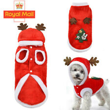 More details for cat dog christmas outfit costumes reindeer hoodie jacket pet xmas clothes coat j