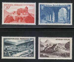 France 1949 MNH Mi 857-860 Sc 623 & 630-632 Views. Abbey.Tourism ** LUXUS **