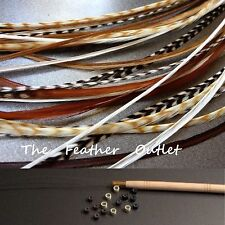 Feathers Hair Extensions Kit Lot 10 Grizzly saddle Long Browns NAT NB KIT