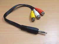 3.5mm Male Plug to 3 x RCA Phono Female Audio Video AV Cable 21cm - TRRS