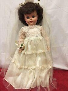 """Eegee Goldberger 22""""  Wedding Gown  Sleepy Eyes Dark Hair Rooted Hair Vinyl"""