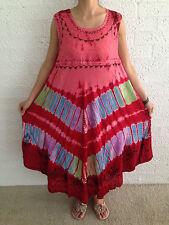 Women's Summer Beach Floaty Boho Tie Dye Red Casual Maxi Dress Size 12-14-16