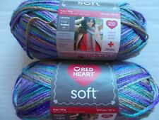 Red Heart Soft variegated yarn, Watercolors, lot of 2 (204 yds each)