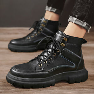 Men's Retro Casual Pu Leather Ankle Boots Lace Up Comfortable Round Toe Shoes