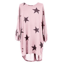 Plus Size Women Stars Print Batwing Lagenlook Tops Knit Tunic Loose Blouse Dress
