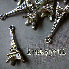 10 24mm Antique Silver Kitsch 3D Paris Eiffel Tower Charms Paris Vintage Eifel