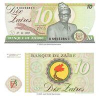 Zaire 10 Zaires 1985 P-27a Banknotes UNC