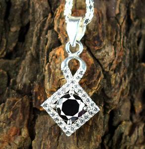 Free Chain 3.51 Ct Black Diamond Solitaire Unique Shine Pendant-Unisex Jewelry