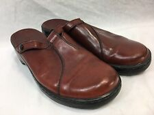 CLARKS LEATHER SLIDES CLOGS MULES Womens 9.5 Casual SLIP ON Shoes RED EGUC