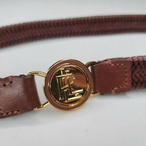 Ralph Lauren Gold Tone Brown Genuine Leather Braided Weave Woven Stretch Belt