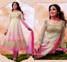 OFFWHITE-PINK GRGT ANARKALI INDIAN SALWAR KAMEEZ SUIT DRESS MATERIAL LADIES DEN