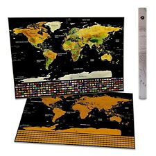 Premium Thick Scratch off World Map poster- US state logs and country flags