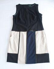LAUREN Ralph Lauren Size 12 Black & Tan Colorblock Dress Sheath Career