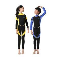 3 Color Kids One-Piece Swimsuit Neoprene Wetsuit Boys Girls Long Sleeve Swimwear