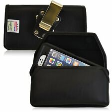 Genuine Leather Magnetic Metal Clip Case fits Consumer Cellular Doro 824 with a