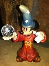 Mickey Sorcerer w/Crystal Anri Ltd.Ed. Mini Wooden Figurine, Hand Painted Carved