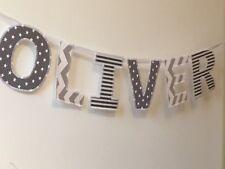 Boys Personalised Name Bunting ~ Grey & White Fabric Mix
