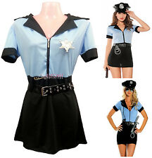 Adult Women Blue Police Cop Uniform Costume Halloween Fashion Outfit Dress Set
