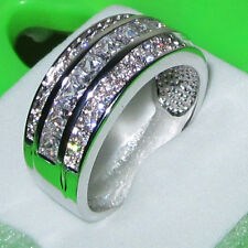 Size 10 Deluxe Jewelry Mens White Sapphire 10KT Gold Filled Band Wedding Ring