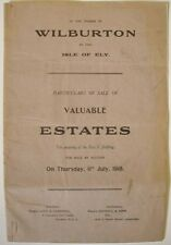 1918 WILBURTON ISLE OF ELY CAMBRIDGESHIRE FENLAND MAP  PLAN & AUCTION CATALOGUE
