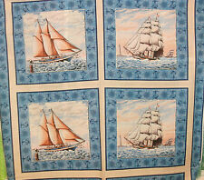 1 Yd Nautical Quilt Fabric Pillow Panel Port of Call Boats Ships