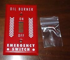 NEW Single Gang Standard Emergency Oil Burner Red Metal Switch Plate Cover