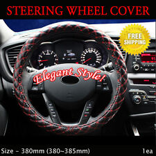 Rachel Car Steering Wheels Leatherette Cover Cap Red Stitch Size - 380mm