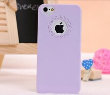Apple iPhone 5 5S ES Lady Women Girl Heart Lace Hard Case Cover Skin -Purple