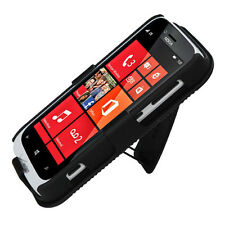 For Nokia Lumia 822 COMBO Belt Clip Holster Case Phone Cover Kick Stand Black