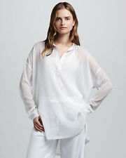 Vince white sheer chiffon silk loose placket tunic top S/M/L  NWOT