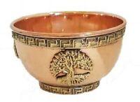 Tree of Life Copper Offering Bowl: Incense Resin Smudge Burner Holder Cauldron