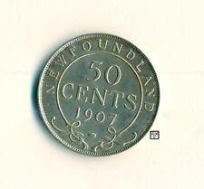 1907 Canada New Foundland 50 Cents Coin ; EF/AU 45