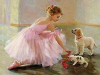 Full drill Diamond Painting Animal Dog Cat Ballerina Handicraft Embroidery 6835H