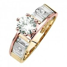 14K Tri-color Solid Gold Round & Baguette Solitaire Engagement Ring