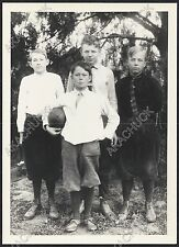 Antique Photo YOUNG BOYS & FOOTBALL 1920s Neighborhood Gang REPRINT & NEGATIVE
