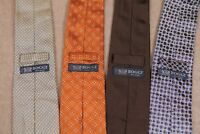 Lot of 4 Boggi Milano Men Designer Ties Geometric Floral Solid Silk Neckties