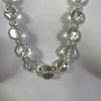 "14"" Clear Crystal Glass Faceted Bead Necklace Graduated Round Vintage"