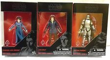 Hasbro Star Wars Black Series 3.75 Inch Han Solo, Leia, Captain Phasma 3 Figures