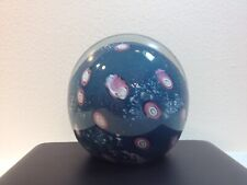 🔵🔴 Rare Magnum Tundra Glass 1986 Cased Blue Paperweight ~ Great Size & Detail