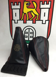 VW Golf MK2 and MK3 Leather Gearstick Gaiter with Laser Etched VW logo