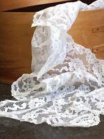 Vintage Lace Deep White Nylon Floral 1970s Mid Century Retro Bridal 5 Metres