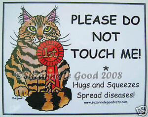 Maine Coon cat art show pen signs from original painting by Suzanne Le Good