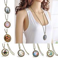 Vintage Halloween Party Cabochon Tibetan Bronze Glass Chain Pendant Necklace