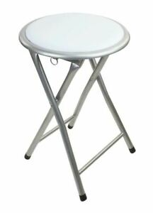 WHITE ROUND COMPACT FOLDING STOOL FOR HOME OFFICE
